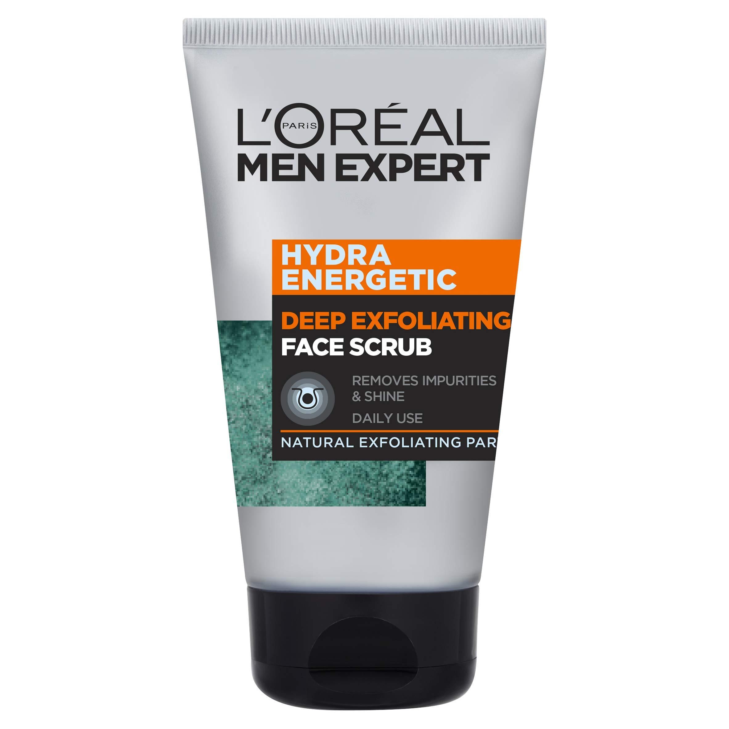 L'Oréal Men Expert Face Scrub, Hydra Energetic Deep Exfoliating Face Wash for Men 100 ml