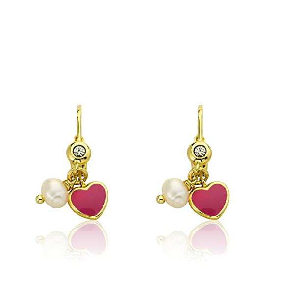 Little Miss Twin Stars I LOVE My Jewels 14k Gold-Plated Hot Pink Enamel Heart Leverback Earring Accented With Fresh Water Pearl Dangle/