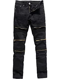 162269c4c27 XARAZA Men s Distressed Ripped Biker Moto Denim Pants Slim Fit Zipper Jeans