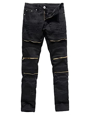 1598ad038149 XARAZA Men s Distressed Ripped Biker Moto Denim Pants Slim Fit Zipper Jeans  (W27 Tag28