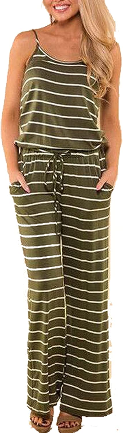 EGELEXY Women/Strappy/Striped/Sleeveless/Jumpsuit/Summer/Holiday/Wide/Trousers
