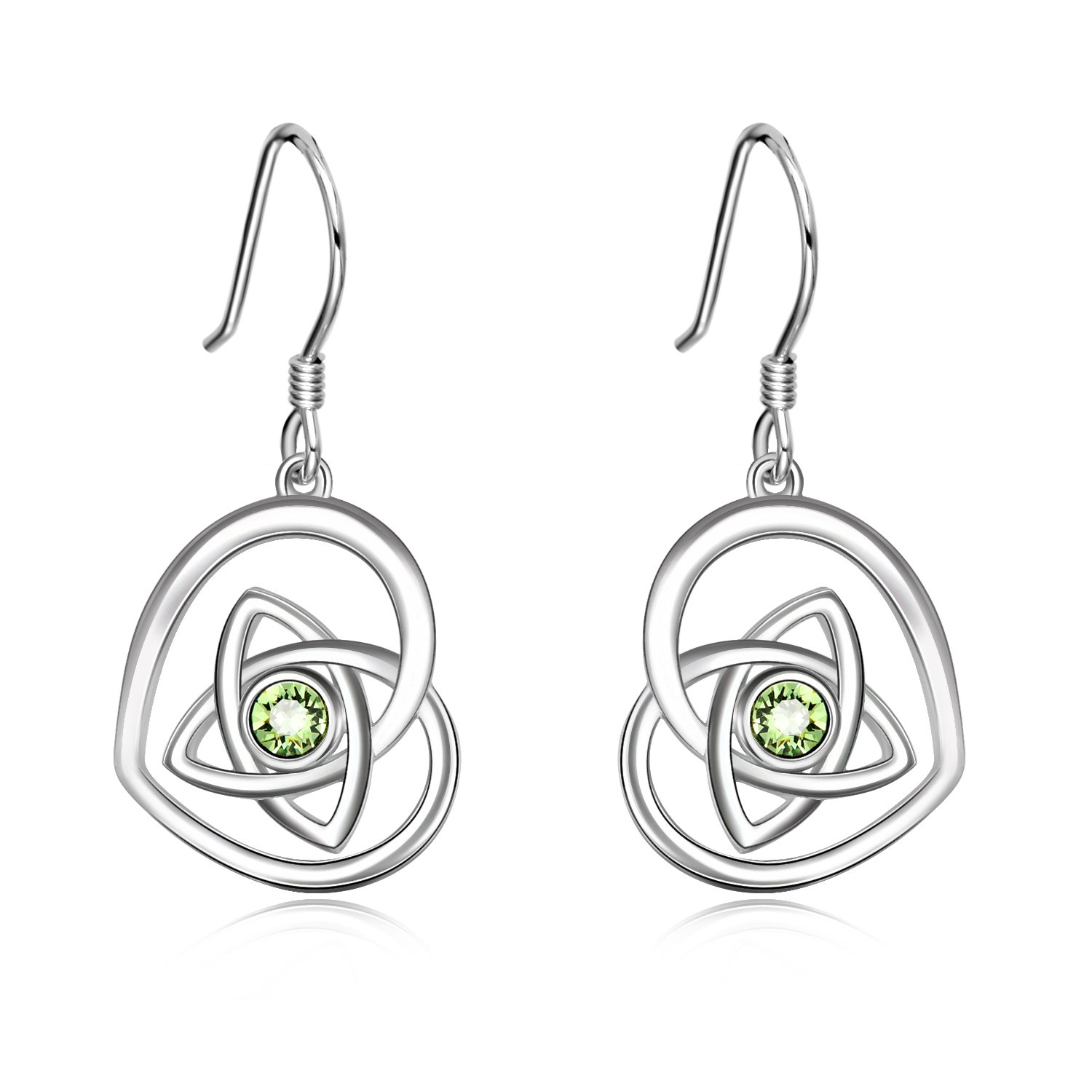 Sterling Silver Irish Celtic Knot Love Heart French Hook Dangle Earrings With Green Swarovski Crystal Jewelry Gifts for Women Girls