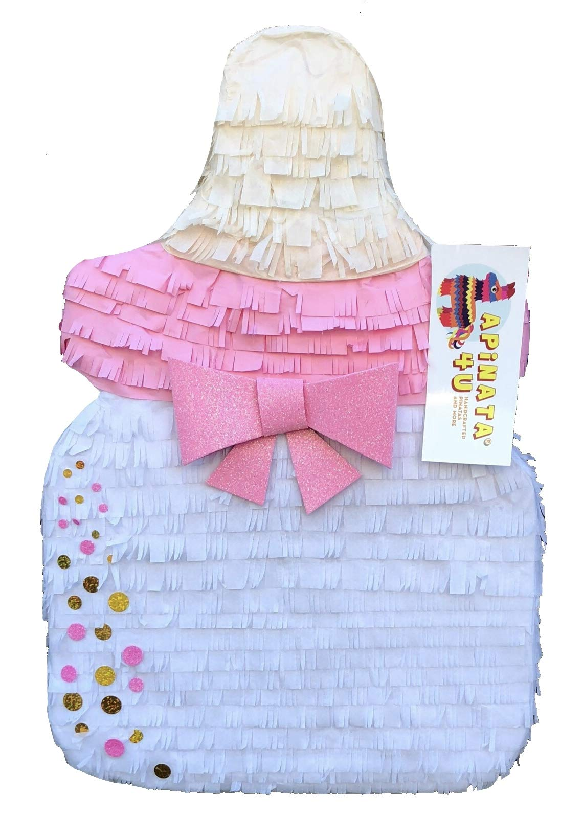 APINATA4U Baby Bottle Pinata with Pink & Gold Glitter Accents