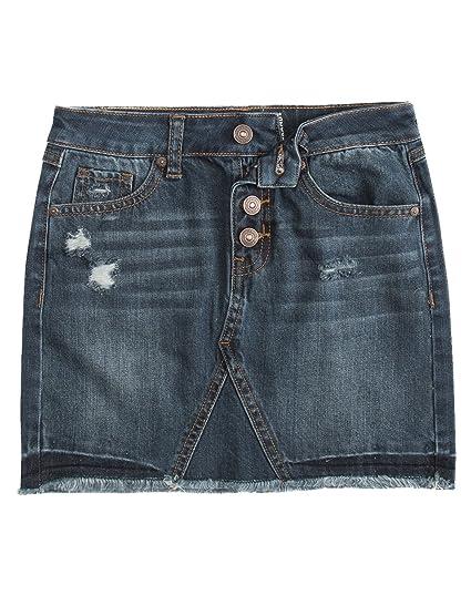 98097efde368a Amazon.com: REWASH Exposed Button Ripped Girls Denim Skirt, Dark ...