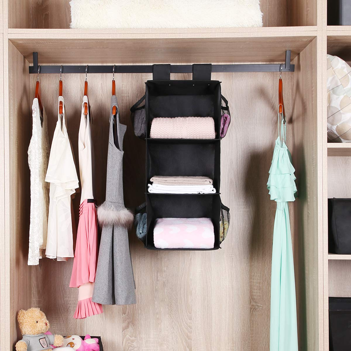 Space Saver 3-Shelves Closet Hanging Sweater Organizer MustQ Hanging Closet Organizer Black Hanging Storage Shelves with 2 Widen Straps