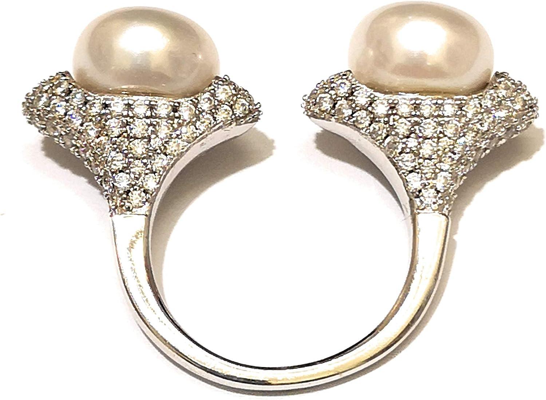APM Monaco Anillo de Plata rodiada con circonitas y perlas cultivadas