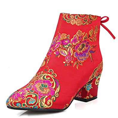 Women's Silk Chunky Heel Pointed Toe Flower Embroidery Ankle Wedding Bootie