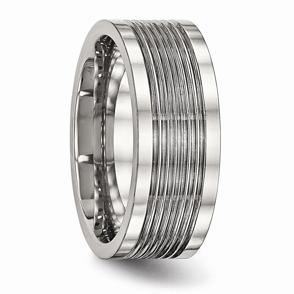 Stainless Steel Polished Grooved Comfort Back Ring Size 7.5 Length Width 8