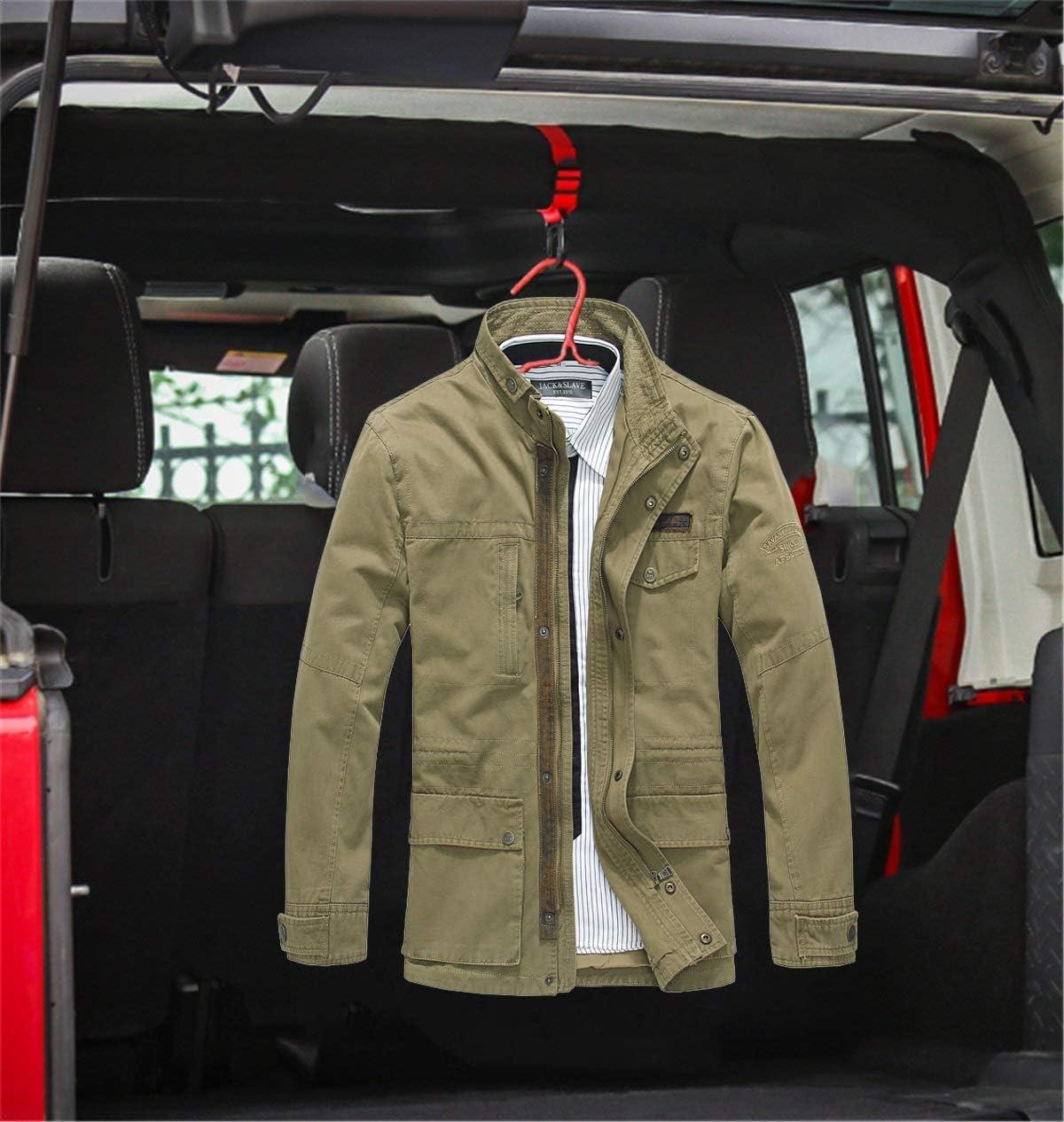 2PCS Roll Bar Coat Hanger Clothes Hook+2PCS Jeep Logo Car Back Seat Headrest Adjustable Hooks Accessories For Jeep Wrangler CJ YJ TJ LJ JK JKU JL JLU JT Sports Sahara Freedom Rubicon /& Unlimited-Red