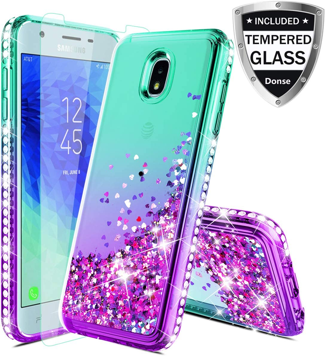 Donse Samsung Galaxy J7 Refine Case,Galaxy J7 Star Case/J7 Crown/J7 2018/J7V 2nd Gen/J7 Aero/J7Top Case W/Glass Screen Protector,Glitter Liquid Quicksand Sparkle Diamond for Girls Women,Mint/Purple