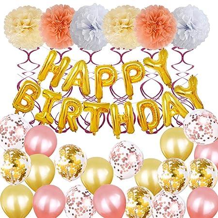 Amosfun Feliz cumpleaños decoración Conjunto Redondo Papel ...