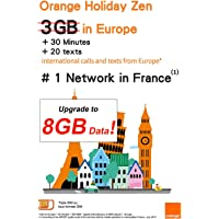 Orange Holiday Europe Travel Sim Card 8GB Internet Data in 4G/LTE +30 mn + 200 Texts in Europe 30 Countries Only (not for UAE)