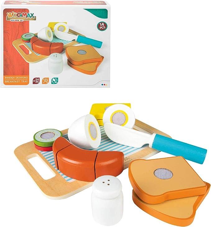 WOOMAX - Bandeja desayuno con accesorios de madera (46473)