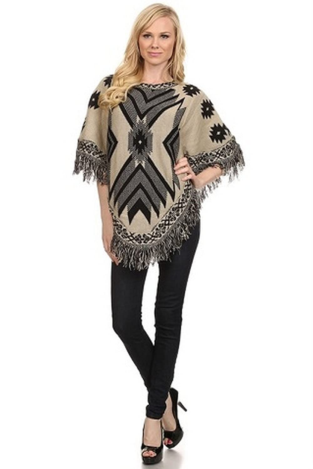 ICONOFLASH Women's Fringed Tribal Sweater Poncho Beige I-PCH057_BEI