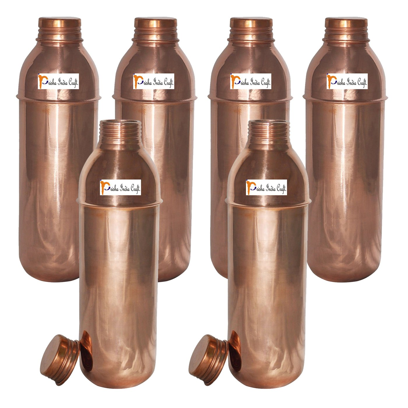 800ml / 27oz - Set of 6 - Prisha India Craft Copper New Bislery Bottle with benefited - Pitcher Bottles - Best Quality Water Bottles - Indian Water Carafe - Handmade Christmas Gift Item