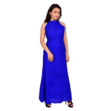 a11e17d1b90 BRONZE Royal Blue Lacy Halter Neck Maxi Dress  Amazon.in  Clothing    Accessories