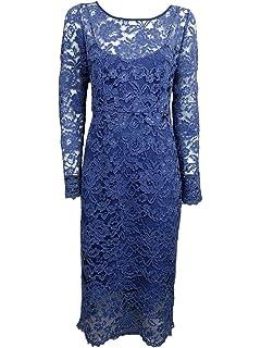 3a43510b0417f Liu Jo Abito Vestito da Donna in Pizzo -70% Celeste Polvere Inverno c66015