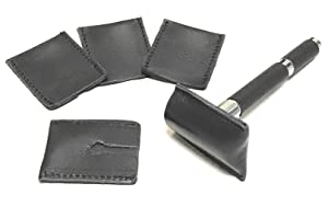 GBS 5 Pack - Leather Double Edge Safety Razor Head Protective Sheath/Shaving Travel Cover - Razor Head Sleeve - Protective Case - Fits All Safety Razor Heads