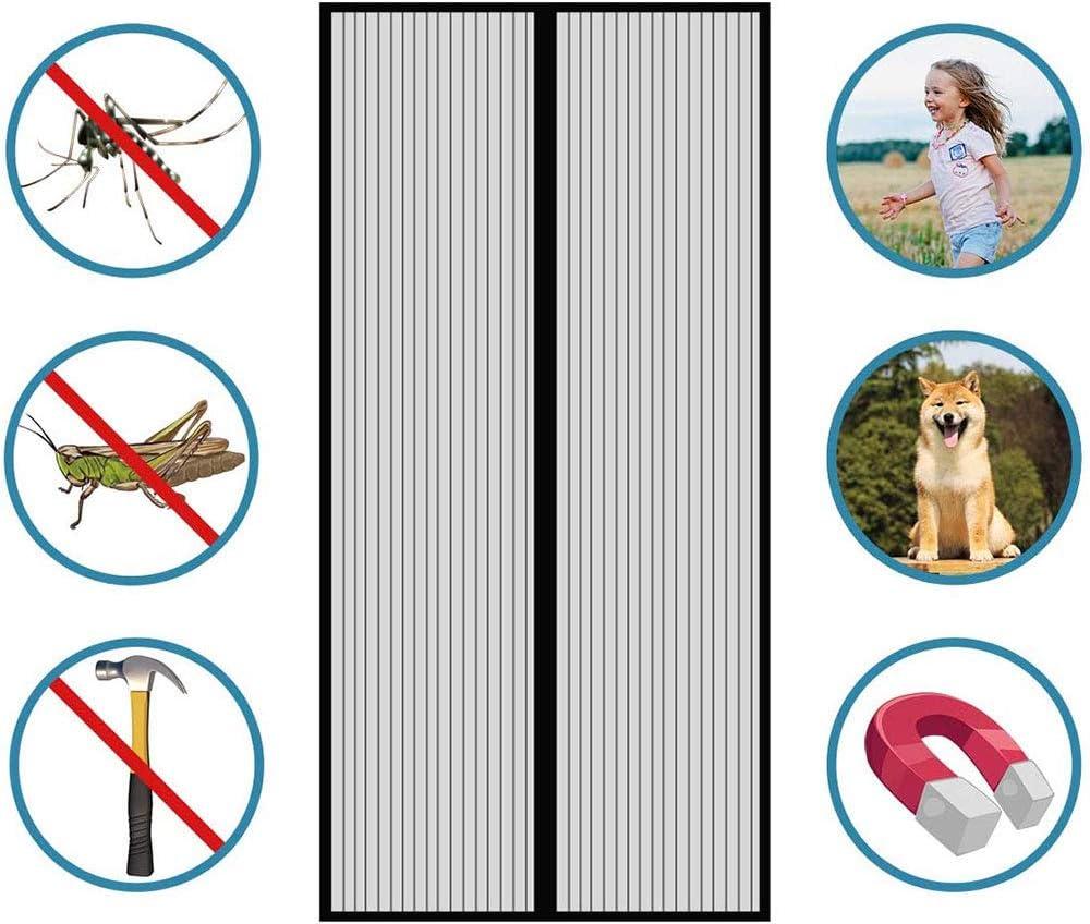 Evita El Paso de Insectos Cortina Mosquitera para Puertas,Cierre Autom/ático F/ácil de Ensamblar para Puertas Correderas//Balcones//Terraza
