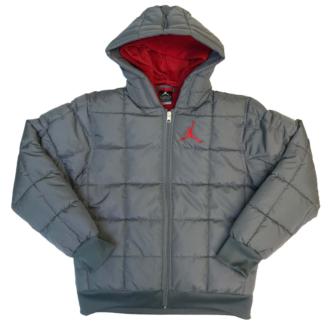 Nike Air Jordan Hooded Padded Ripstop Jacket (Cool Grey, X-Large)