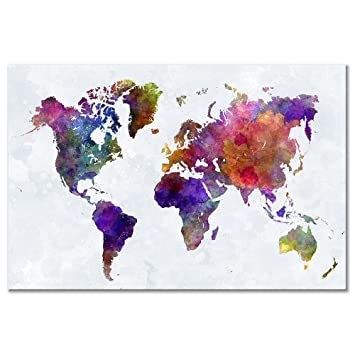 Amazon wieco art colorful world map large modern stretched wieco art colorful world map large modern stretched and framed giclee canvas prints artwork abstract gumiabroncs Gallery
