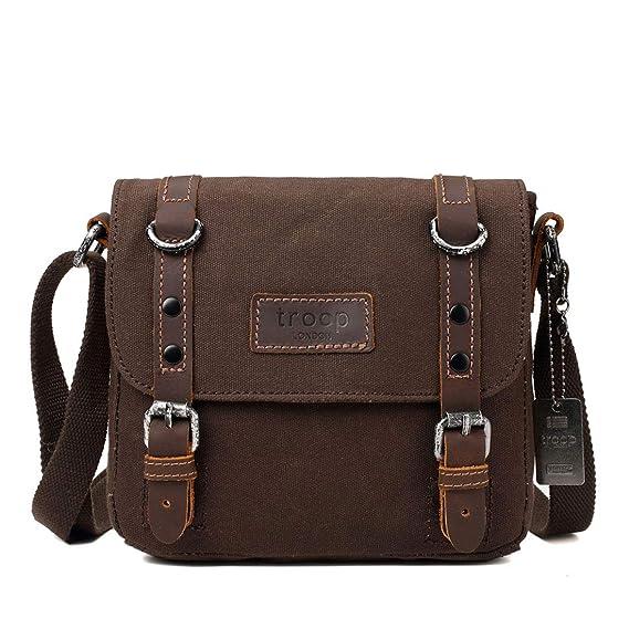 f96b335b61 TRP0428 Troop London Heritage Canvas Leather Shoulder Bag