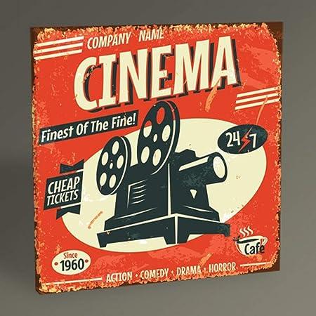 Pizarra Cartel Vintage Cinema, 90 x 90 cm: Amazon.es: Hogar