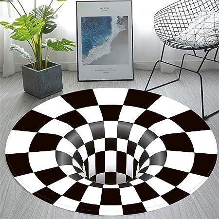 Amazon De Facc Teppich Rund Mode 3d Trap Illusion Teppich Schwarz Weiss Karierte Visuelle Vortex