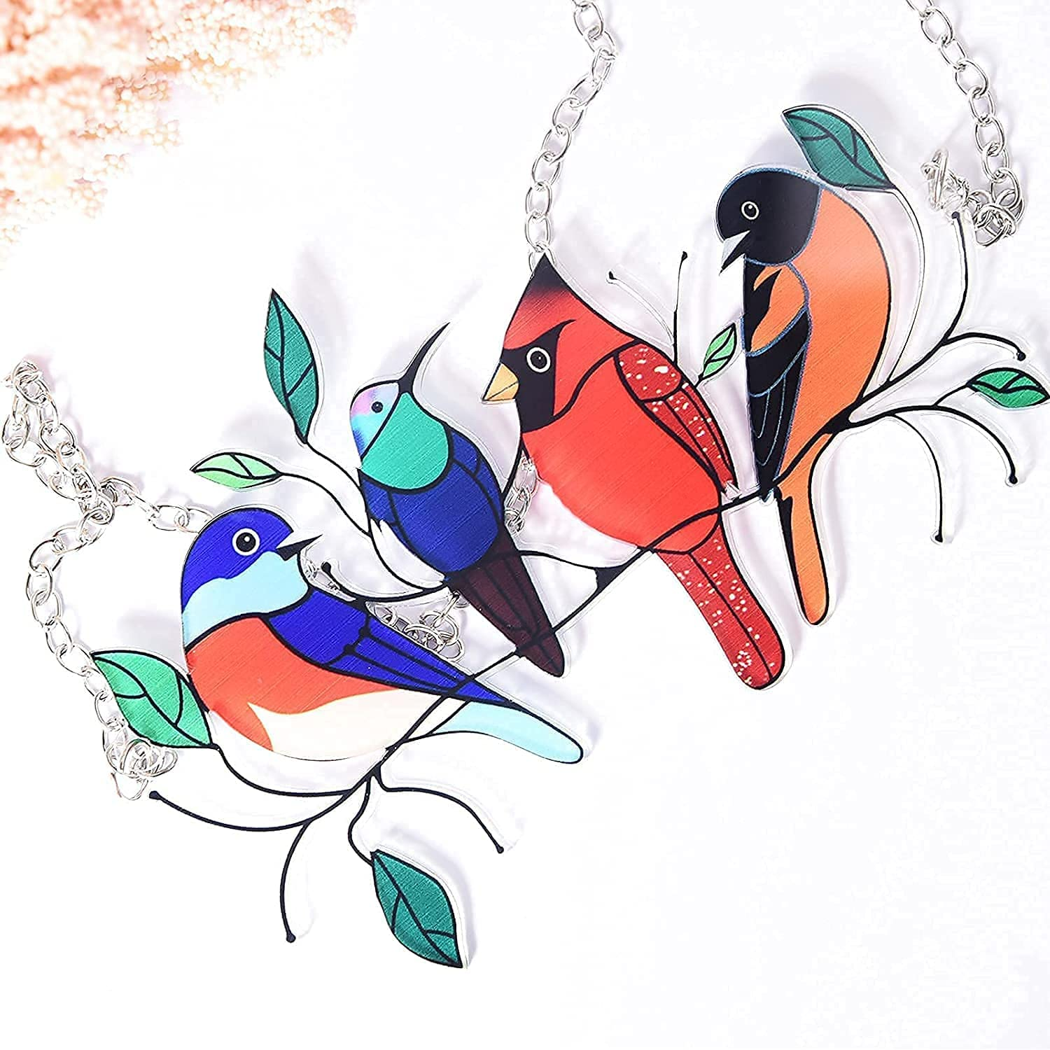 Sun Catcher Multicolor Birds for Window, Ctumg Sun Catchers Indoor Pendant for Home Doors Panel Decoration, Gifts for Bird Lover