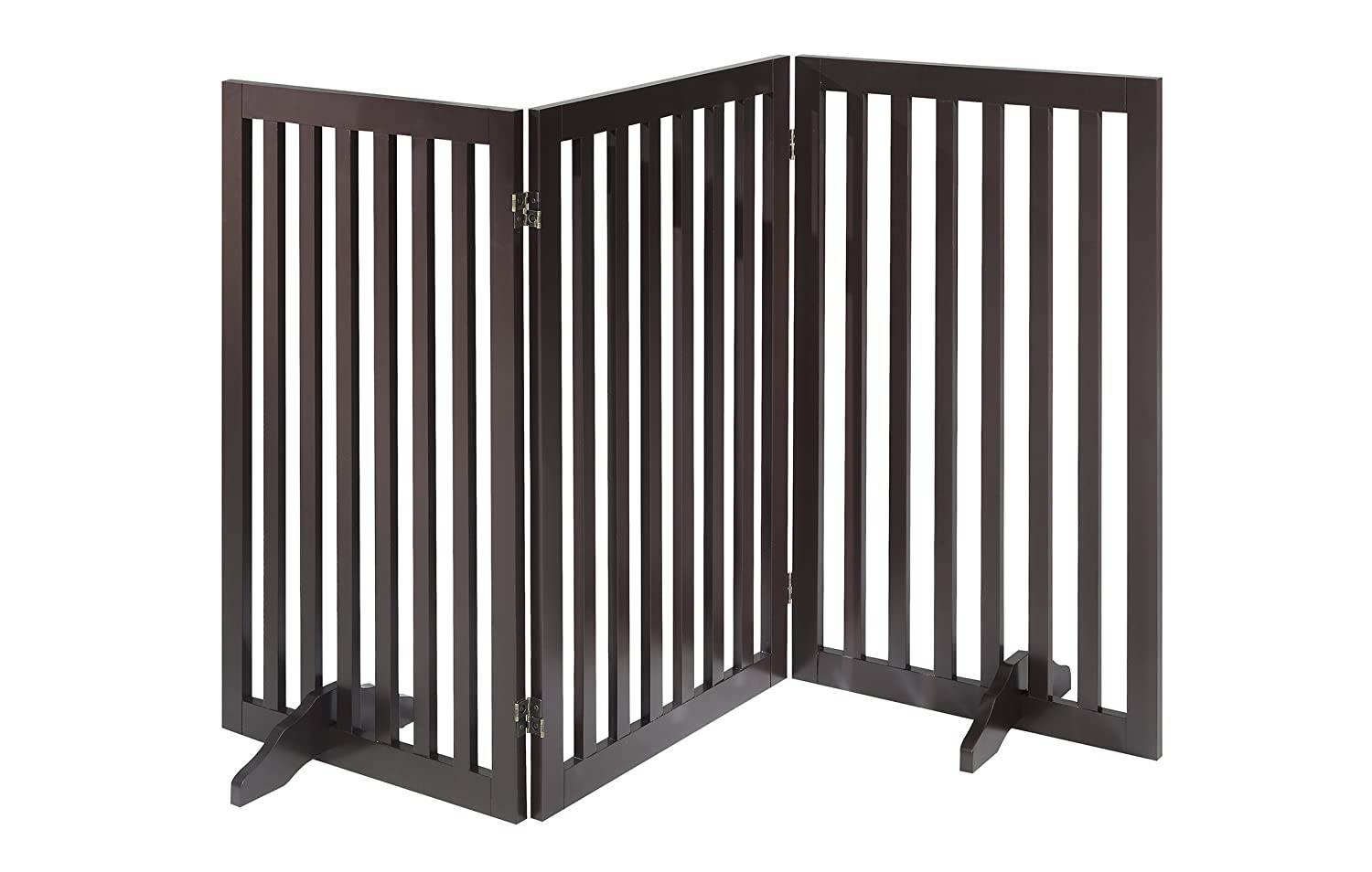 Total Win - Freestanding 36 Tall Dog Gate w/ Support Feet (Espresso) | Up to 80 Wide | Assembly-free | Sturdy Wooden Structure | Foldable Design