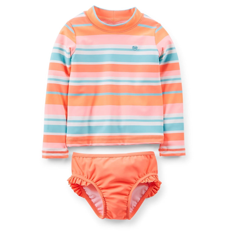 3c20b1e28 Amazon.com: Carter's Baby Girl Rash Guard (12 Months, Striped): Clothing