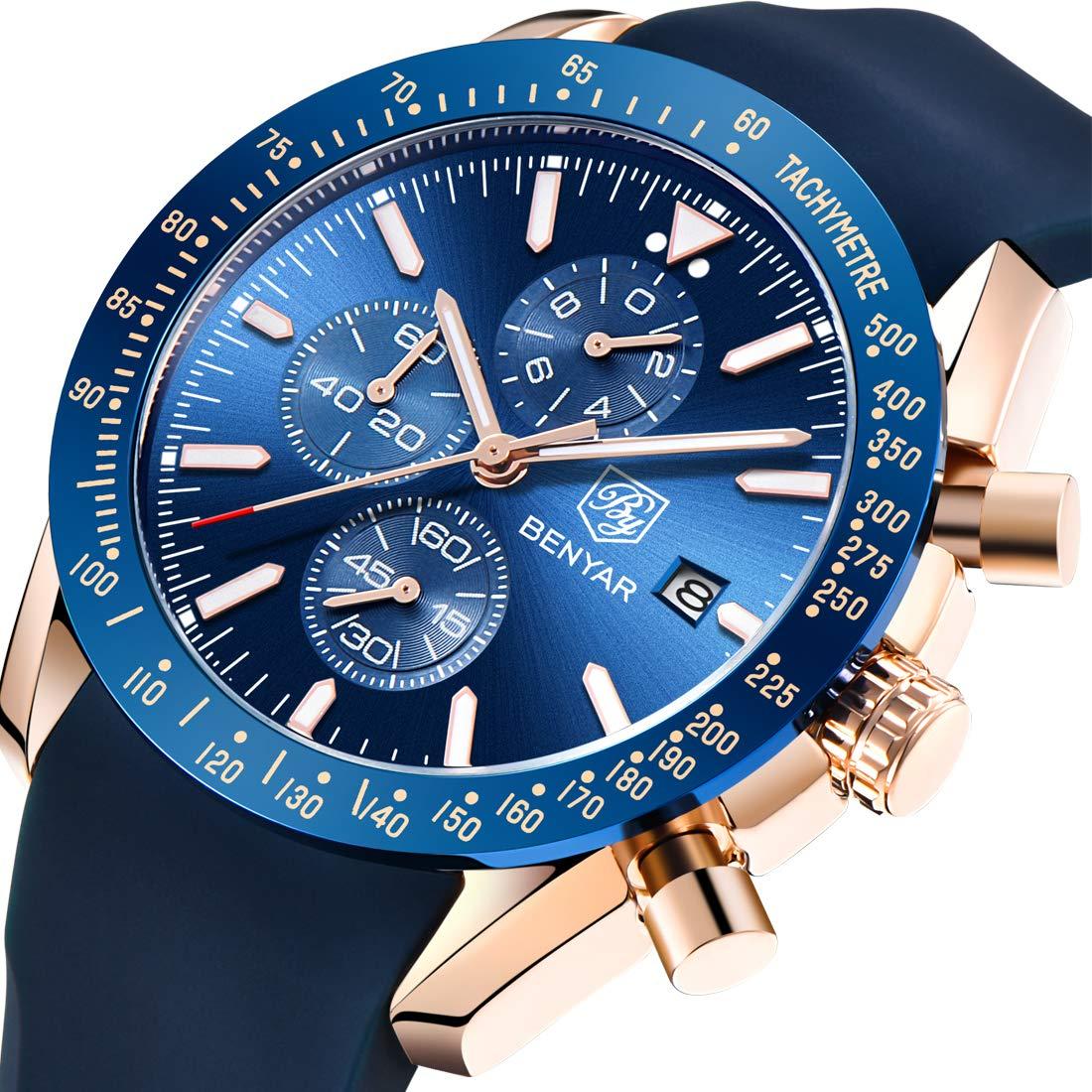 BENYAR Men's Waterproof Casual Fashion Business Silicone Men's Watch(Blue)