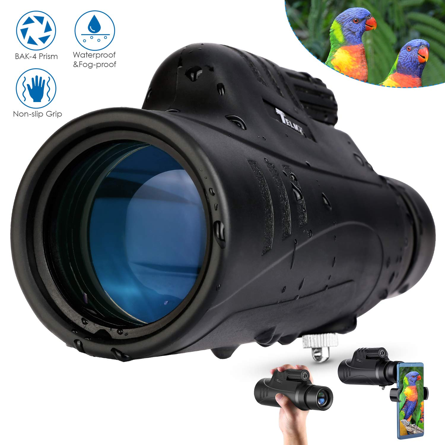 TELMU Monocular Telescope 10X42 with BAK-4 Prism and FMC Objective Lens, Waterproof for Bird Watching and Match Viewing, Ideal Monocular for Nature Explorer and Outdoor Adventurer by TELMU
