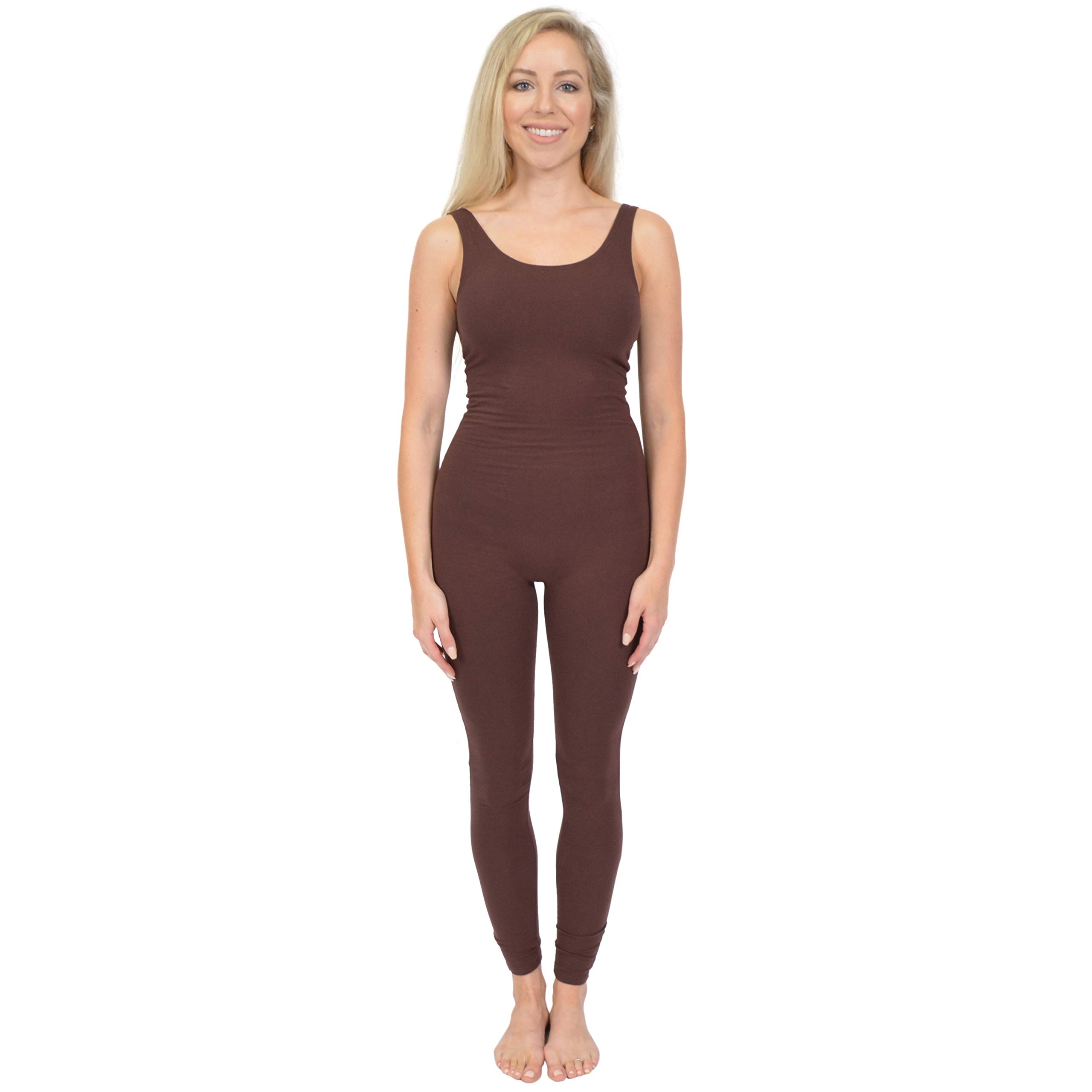 Stretch is Comfort Women's Teamwear Cotton Tank Unitard Brown Small by Stretch is Comfort