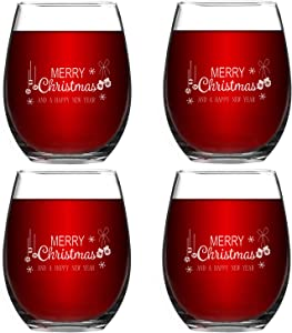 Christmas Stemless Wine Glass Set of 4, Stemless Wine Glasses for Women Friends Men, Wonderful Christmas Idea for Mom Wife Girlfriend Sister Wedding Birthday Party
