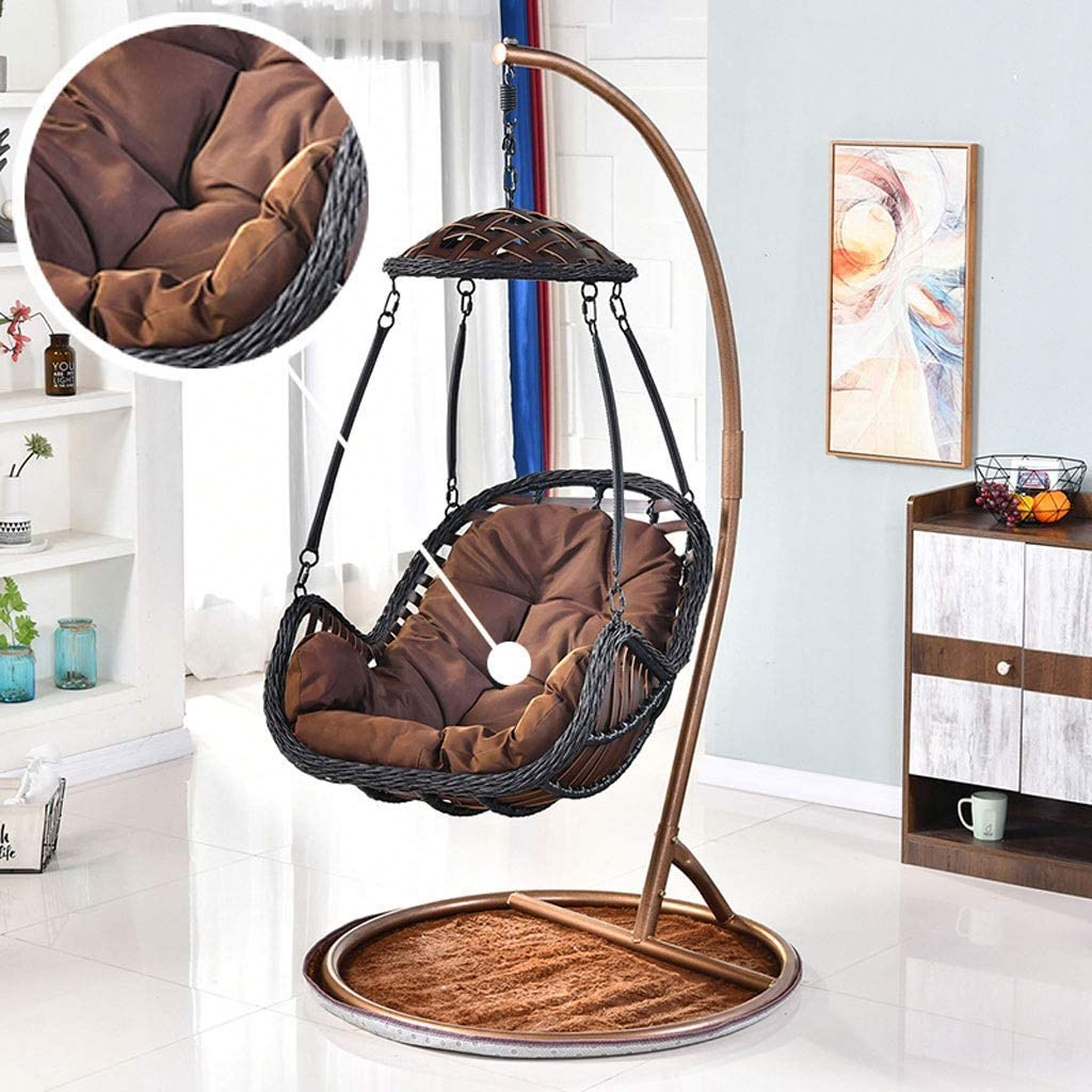Yuany Grey Rattan Hanging Swing Chair Cushion Egg Chair Hammock Cushion For Indoor Or Outdoor Size 80x120cm Color Brown No Chair Amazon Co Uk Kitchen Home