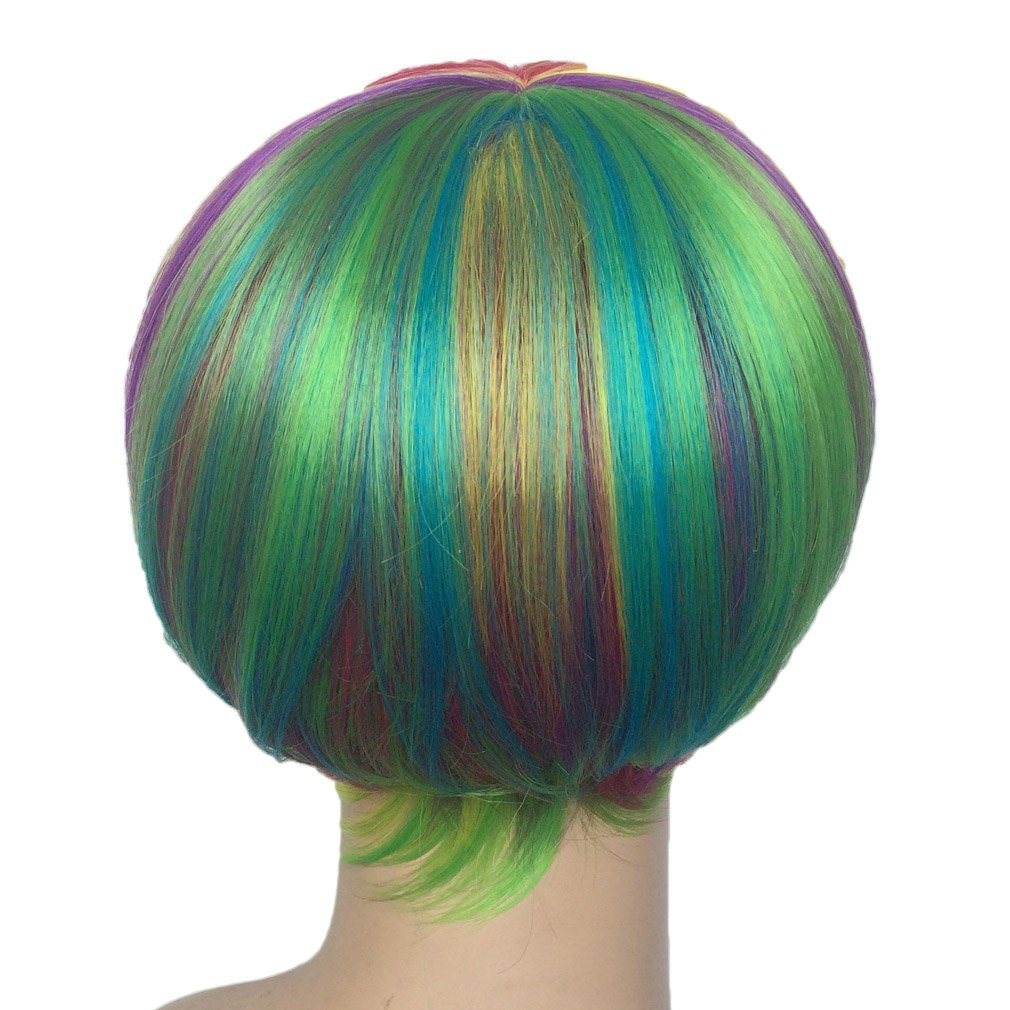 Short Rainbow Wig Cosplay Wigs Heat Resistant Synthetic Fiber BOB Hairpiece , Free Wig Cap by Namecute (Image #7)