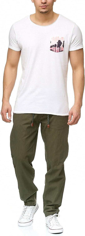 Largo Deportivo Regular Fit Pantal/ón Moderno C/ómodo Tiempo Libre para Hombres Indicode Caballeros Veneto Pantalones De Tela En 55/% Lino Y 45/% Algod/ón 4 Bolsillos