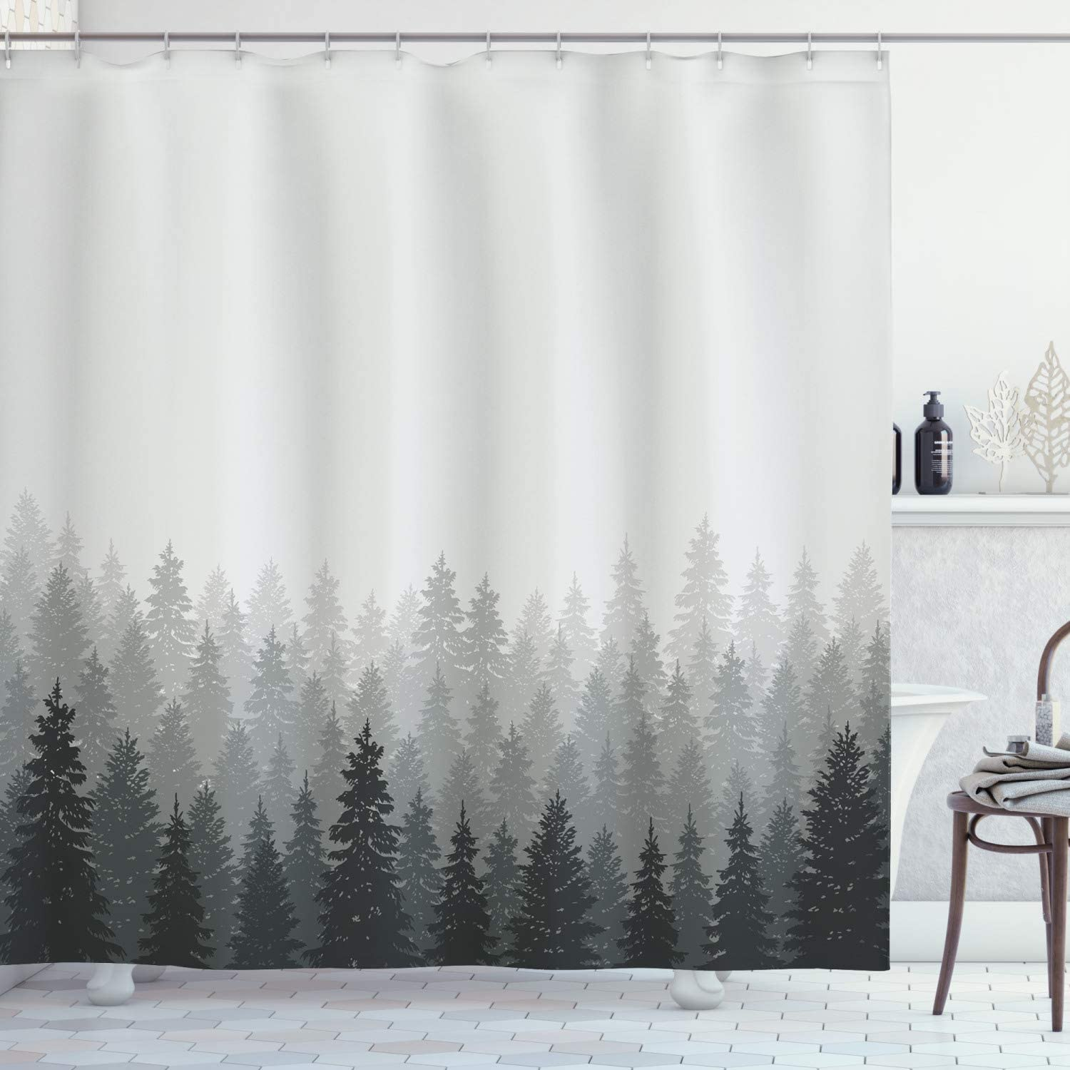 "Ambesonne Forest Shower Curtain, Wilderness Pattern with Many Trees Nature Panorama Monochrome Woods, Cloth Fabric Bathroom Decor Set with Hooks, 75"" Long, Reseda Grey"