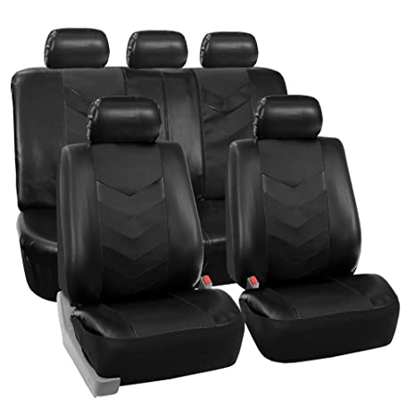 FH GROUP PU021115 SEAT Synthetic Leather Full Set Seat Covers Black Fit
