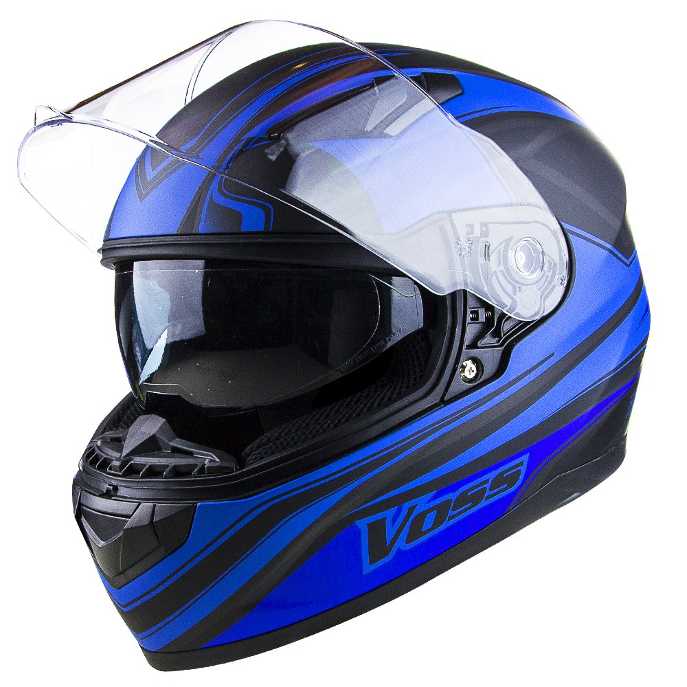 Amazon.com: Voss 988 Synchro Graphic DOT Full Face Helmet with Integrated Sun Lens - XS - Matte Blue Synchro: Automotive