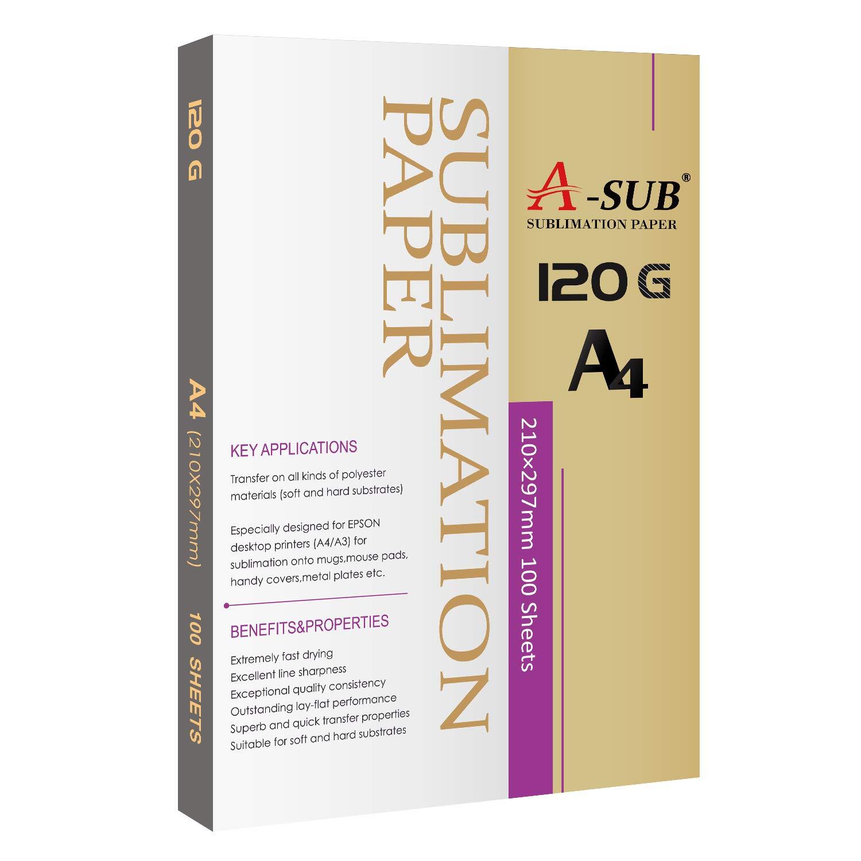 A-SUB Sublimationspapier A4 W/ärme/übertragung 100 Blatt Kompatibel mit Tintenstrahldrucker 125 g//m/²