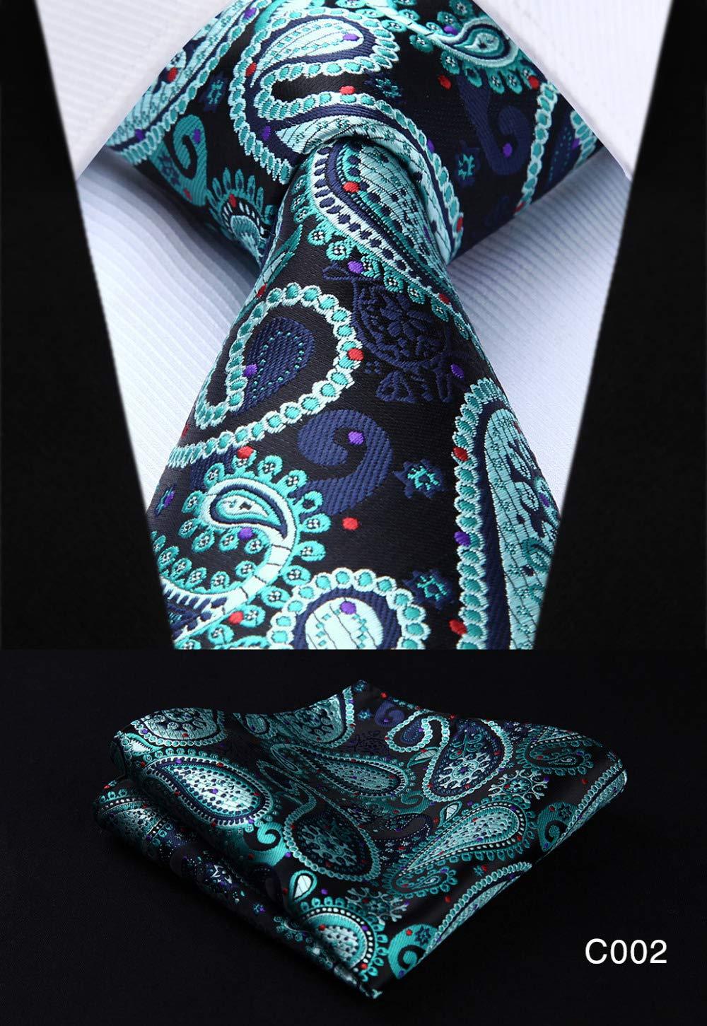 Graven Men Tie Pocket Square Classic Party Wedding 3.4 Silk Fashion Mens Extra Long Tie XL Necktie Handkerchief Set #C0 Color: C003