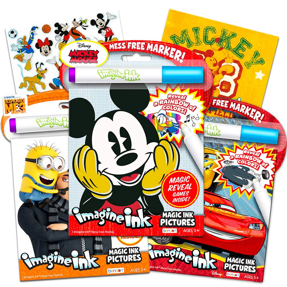 Disney Cars and Minions with Invisible Ink Pens and Mickey Mouse Stickers 3 Imagine Ink Books for Kids Toddlers Featuring Mickey Mess-Free Coloring Disney Mickey Magic Ink Coloring Book Set