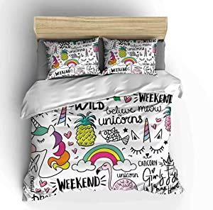 Vichonne Unicorn Bedding Sets Full for Kids,3 Piece Cartoon Flamingo Pineapple Rainbow Theme Duvet Cover Sets with 2 Pillowcases for Teens Boys Girls Bedroom Decorative,No Comforter
