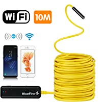 BlueFire Semi-rigid Flexible Wireless Endoscope IP67 Waterproof WiFi Borescope 2 MP HD Resolutions Inspection Camera Snake Camera for Android and iOS Smartphone, iPhone, Samsung, iPad, Tablet (33 FT)