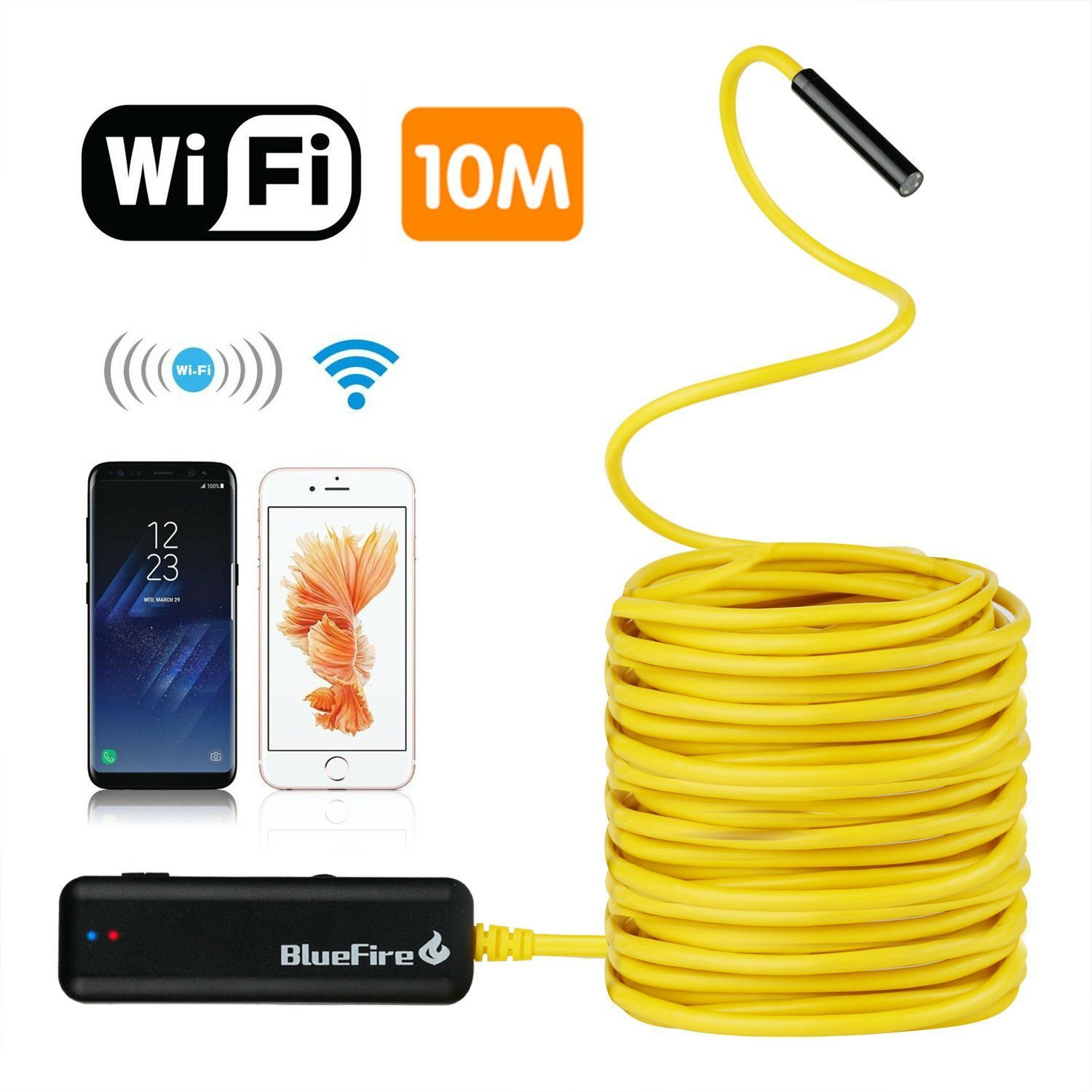 BlueFire Semi-rigid Flexible Wireless Endoscope IP67 Waterproof WiFi Borescope 2 MP HD Resolutions Inspection Camera Snake Camera for Android and iOS Smartphone, iPhone, Samsung, iPad, Tablet (33FT)