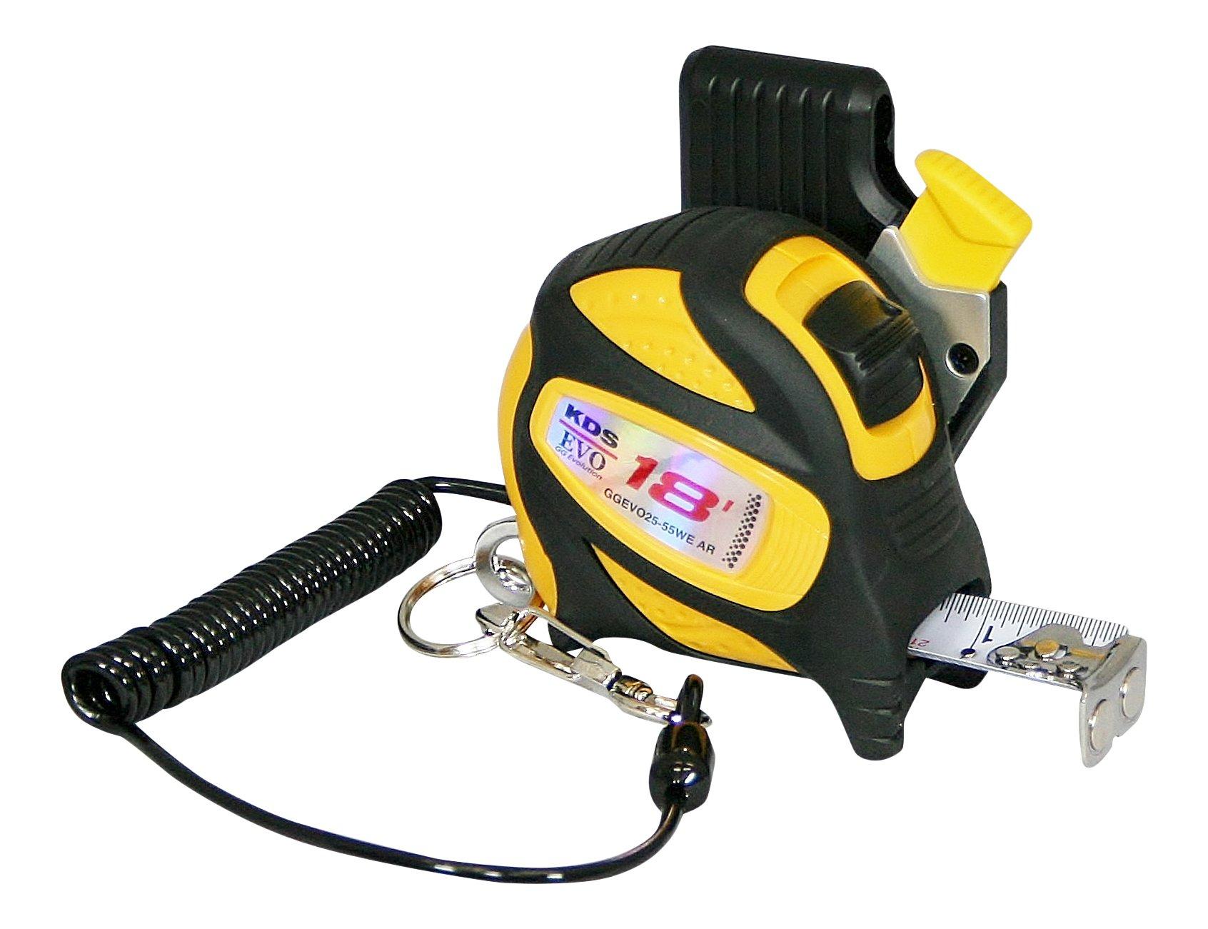 KDS GGEVO25-55WE AR BP GoodGrip Drop Protection Safety Measuring Tape, 1''/18', Yellow/Black