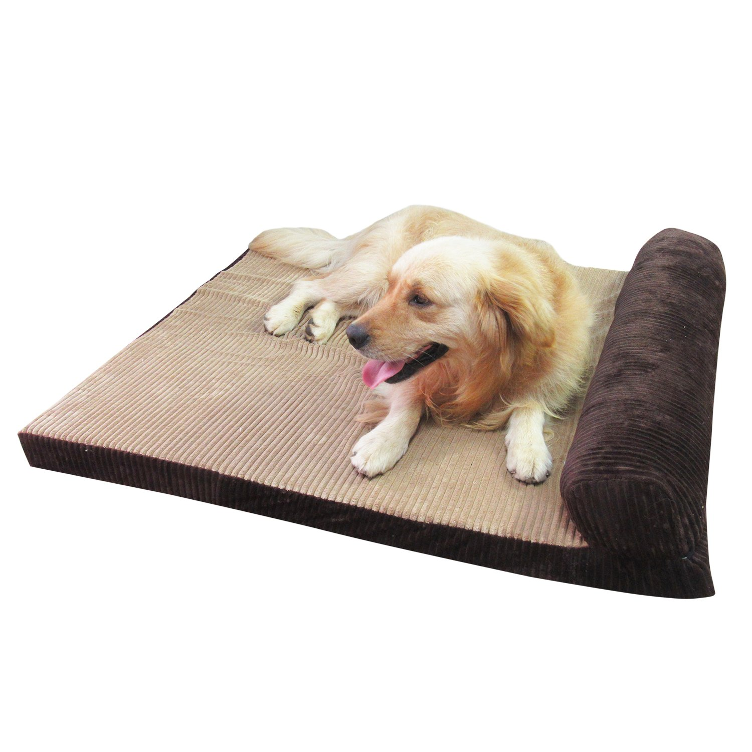 Coffee XL = 110 X 95 X 7 CM Coffee XL = 110 X 95 X 7 CM AcornPets® B-1302 Extra Large Deluxe Coffee Brown 7 CM Extra Thickness Memory Foam Dog Sofa Bed Fleece 110 x 95 CM For Large Dogs,Premium Corduroy and Smooth Velveteen Fabric, Detachable and Wash