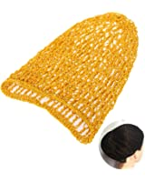 Tinksky Hair Net Bands Snood Cover Rayon Net Hair Net for Sleeping Crochet Hairnet for Women Lady (Yellow)